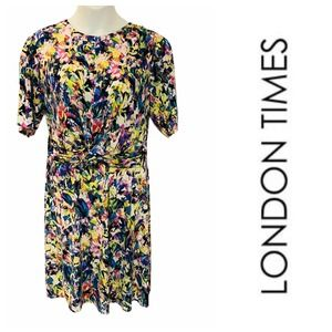 London Times Floral Abstract Draped T-Shirt Dress